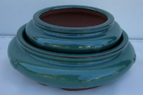 "Bonsai Pot Blue 6"" blue round"
